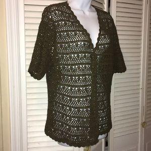 Laura Scott crochet olive green open front size XL